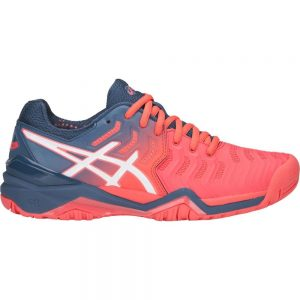 Asics Gel-Resolution 7 papaya / blue / white hard court sole Women's Shoe