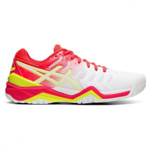 Asics Gel-Resolution 7 (HC) White/Laser Pink Women's Tennis Shoes