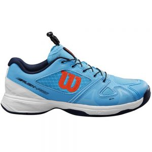 Wilson Rush Pro QL Blue/White/Tangerine Junior Shoe