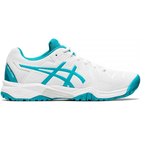 Asics Gel-Resolution 8 White/ Lagoon Junior Shoe