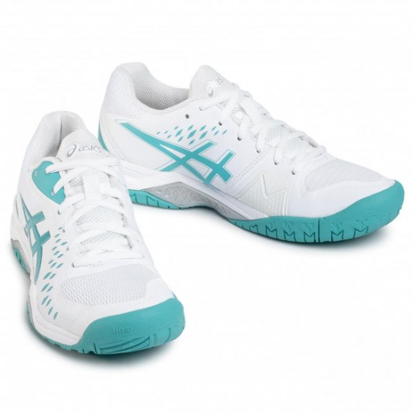 Asics Gel – Challenger 12 White Techno Cyan HC Women's Tennis Shoes