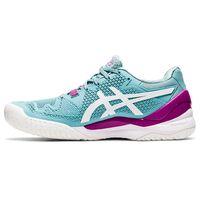 Asics Gel Resolution 8 Womens HC Smoke Blue White Tennis Shoes