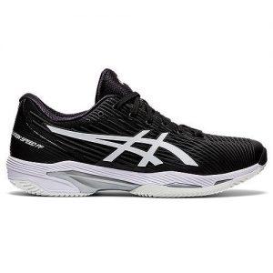 Asics Solution Speed FF 2 Clay Black White Womens Tennis Shoe