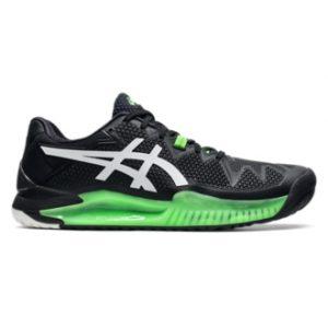 Asics Gel Resolution 8 Black/Green Gecko Mens Tennis Shoe