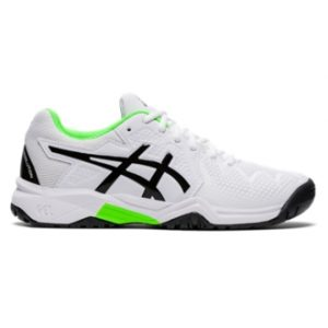 Asics Gel Resolution 8 GS White/Green Gecko Junior Tennis Shoes